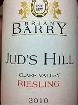 Brian Barry Jud's Hill Riesling 2010, Clare Valley, SA