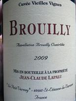 Jean-Claude Lapalu Brouilly Gamay Vielles Vignes 2009, Beaujolais, France