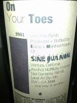 Sine Qua Non On Your Toes Syrah, Central Coast